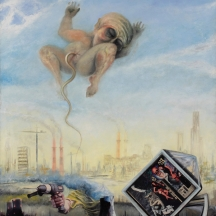 Industrial umbilical cord, 2010, OIL AND COLLAGE ON CANVAS, 45 x 40 INCHES