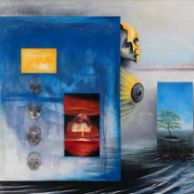 Nuclear man, 2010, OIL AND MIXED MEDIA ON CANVAS, 55 x 66 INCHES