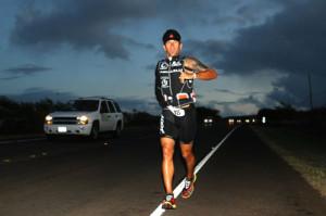 Jason Lester running at night