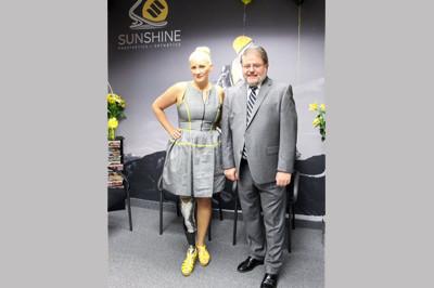 Brooke Artesi and Mayor Chris Vergano at Sunshine Prosthetics and Orthotics Grand Opening in Wayne NJ 2013 - Sunshine Prosthetics and Orthotics, Wayne NJ