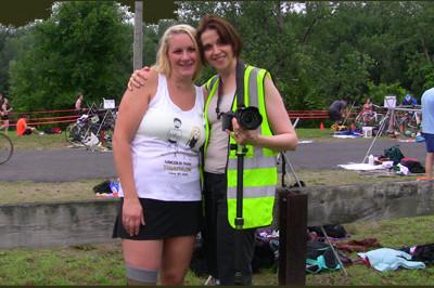 Brooke Artesi and Vickie Siculiano, Marketing Coach and photographer, at Lincoln Park Triathlon 2013 - Sunshine Prosthetics and Orthotics, Wayne NJ