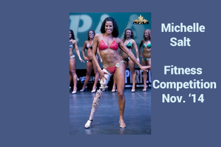 Michelle Salt wearing her Alleles prosthetic design cover at the NPAA Fitness Competition 2014