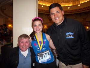 fellow stroke survivor Ray Driscoll, Katie Jerdee and Tedy Bruschi after the Boston Marathon