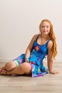 modeling blue dress