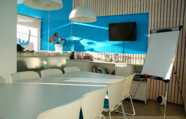 Blue kitchen and dining room