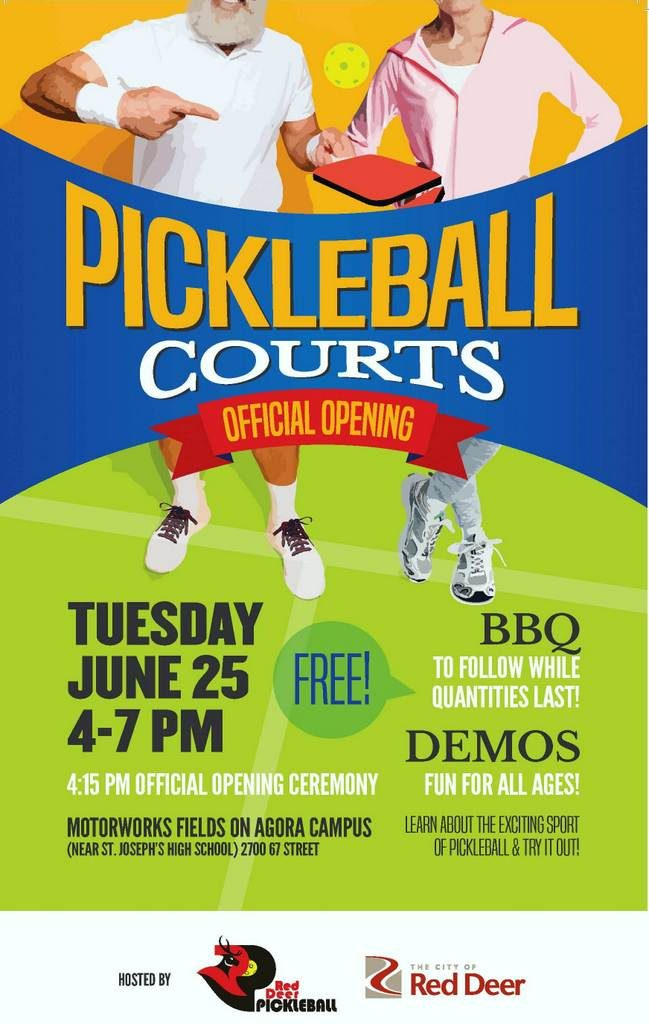 Red Deer Pickleball Club Pickleball Courts Grand Opening!  Tuesday June 25th, 2019 at Motorworks Fields on Agora Campus. located at 2700 67 Street, Red Deer.