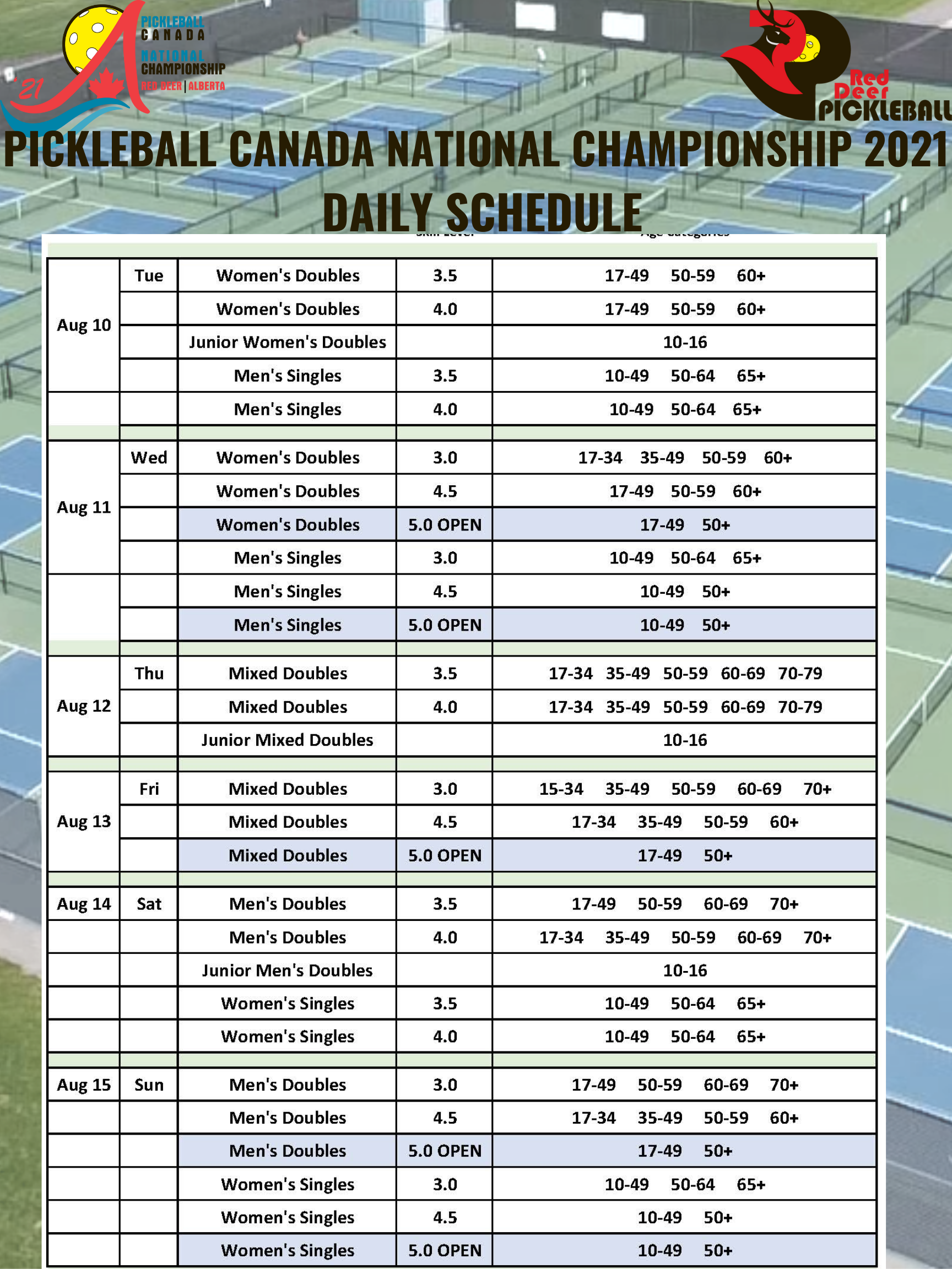 Pickleball Canada National Championship 2021 Daily Schedule