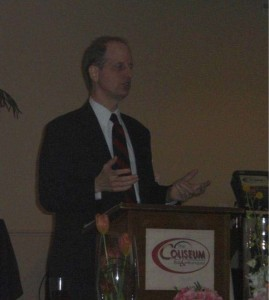 Reid Magney, Public Information Officer, Wisconsin Government Accountability Board, addresses the March Luncheon.