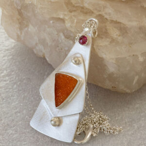 Druzy Tower Pendant in Sterling Silver