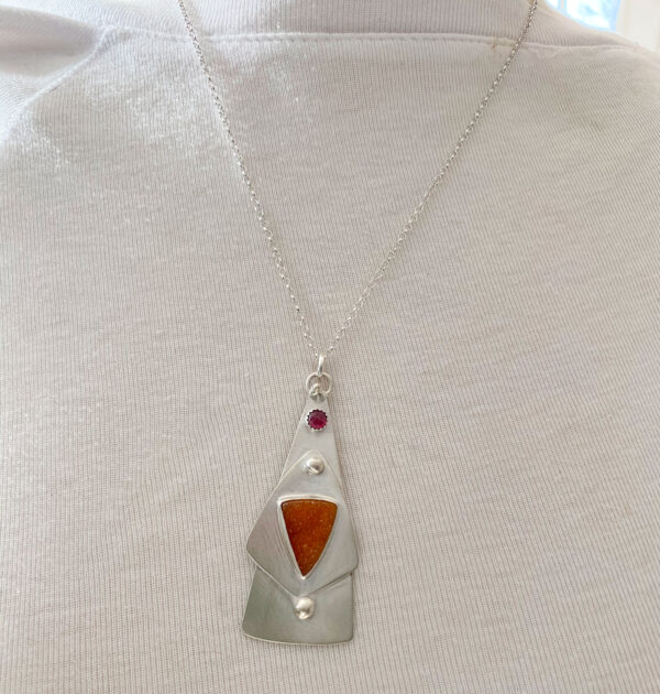 Druzy Silver Tower Pendant
