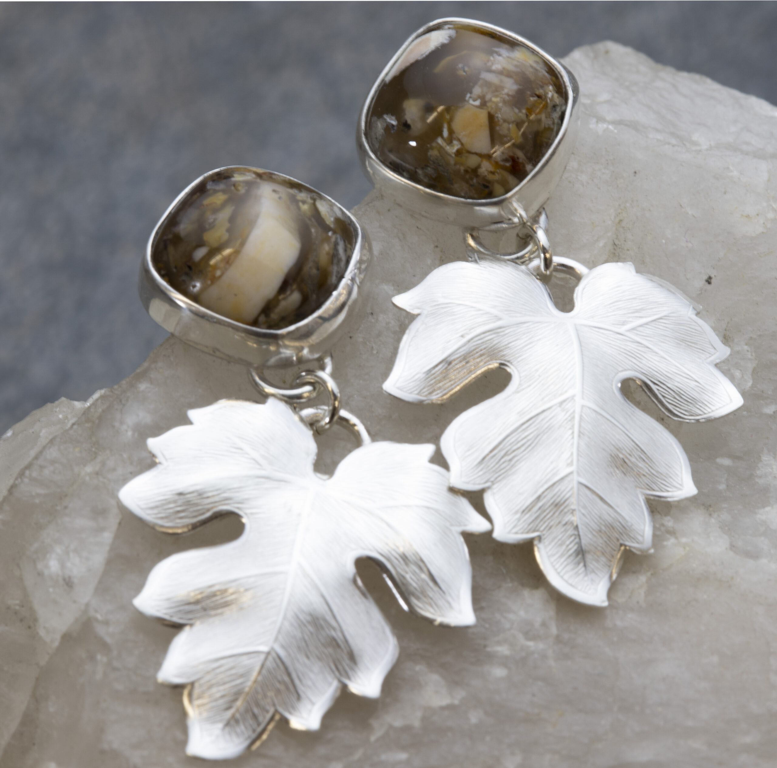 Jasper Silver Leaf Earrings