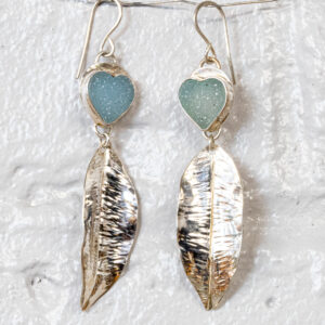 Blue Druzy heart feather earrings
