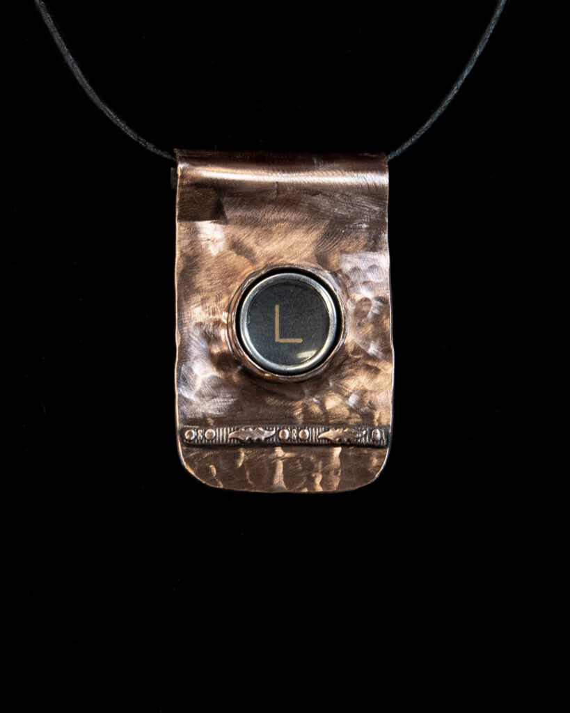 Vintage Typewriter Key Pendant in Copper by Deb Lill