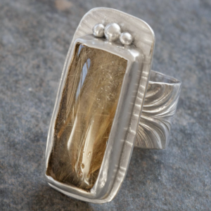 Rutile quartz ring in Sterling Silver