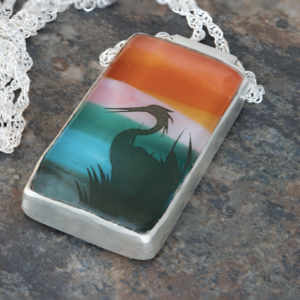 Sunset Heron Glass Necklace