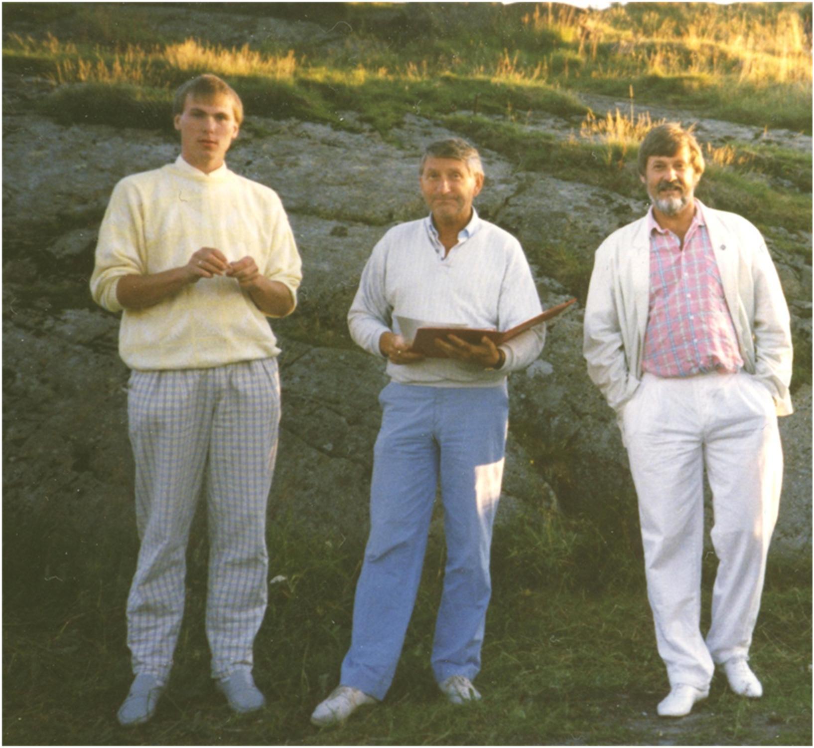 Terje Varpe (one of Ersdal's first students in Norway)</br> Einar Svendsen, Charles Ersdal</br> Courtesy Terje Varpe