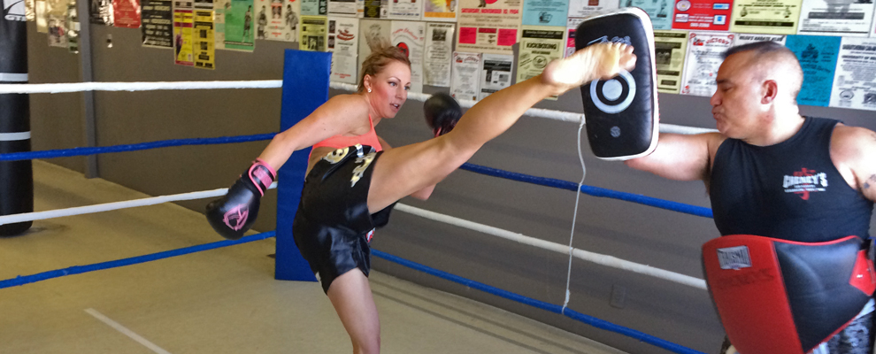 Working with focus mitts helps focus and aim.