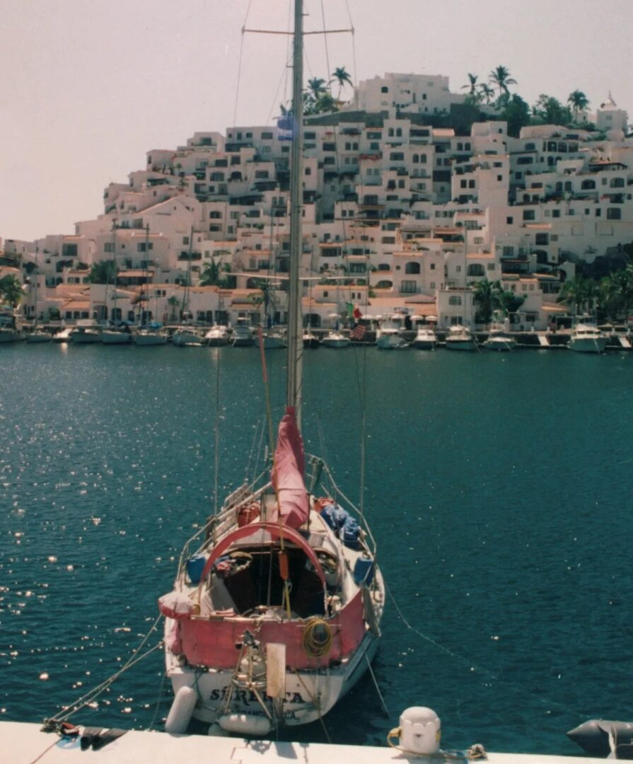 "Sandra's very first and successful solo ""Med Tie"" docking attempt at Las Hadas Resort Marina, Manzanillo Mexico"