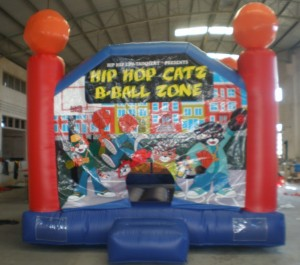 The HIP HOP CATZ B-BALL ZONE bouncy is one of the amusements.