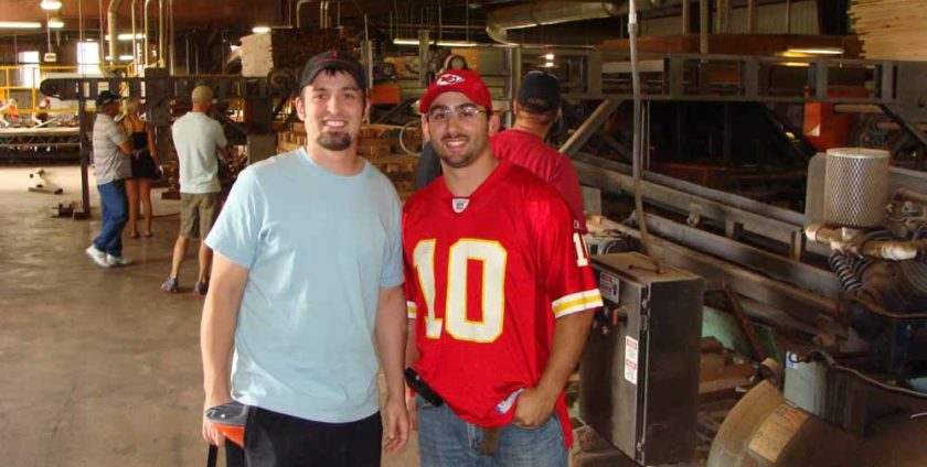 Mike and Ben Totta at wood mill