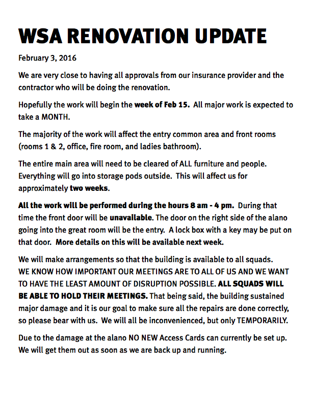 WSA Renovation Update Feb 3