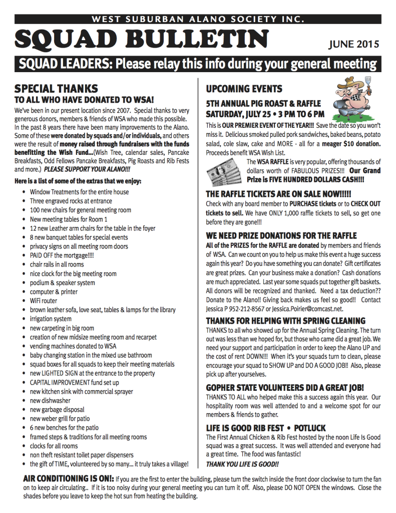 Squad Liaison Newsletter June 2015