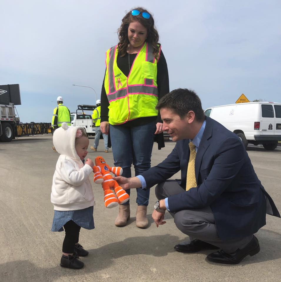 Celebrating Work Zone Safety at the Route 14, Route 1 Overpass in Milford.