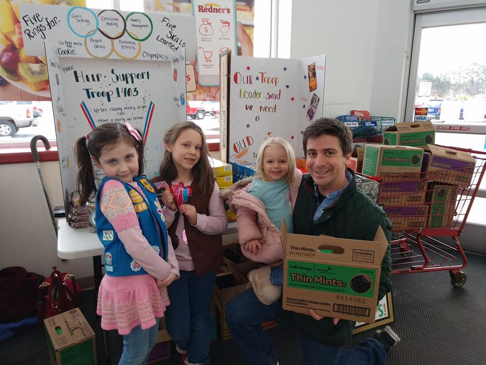 Supporting our local young entrepreneurs selling Girl Scout Cookies.