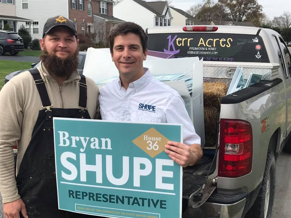 Local business Kerr Acres recycled Shupe campaign signs to insulate their bee hives for the winter.