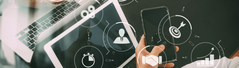 tablet and phone with icon overlay to indicate workplace technology and business analytics