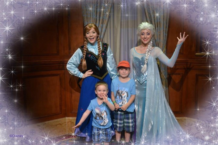 Boys with Anna and Elsa from Frozen at Magic Kingdom
