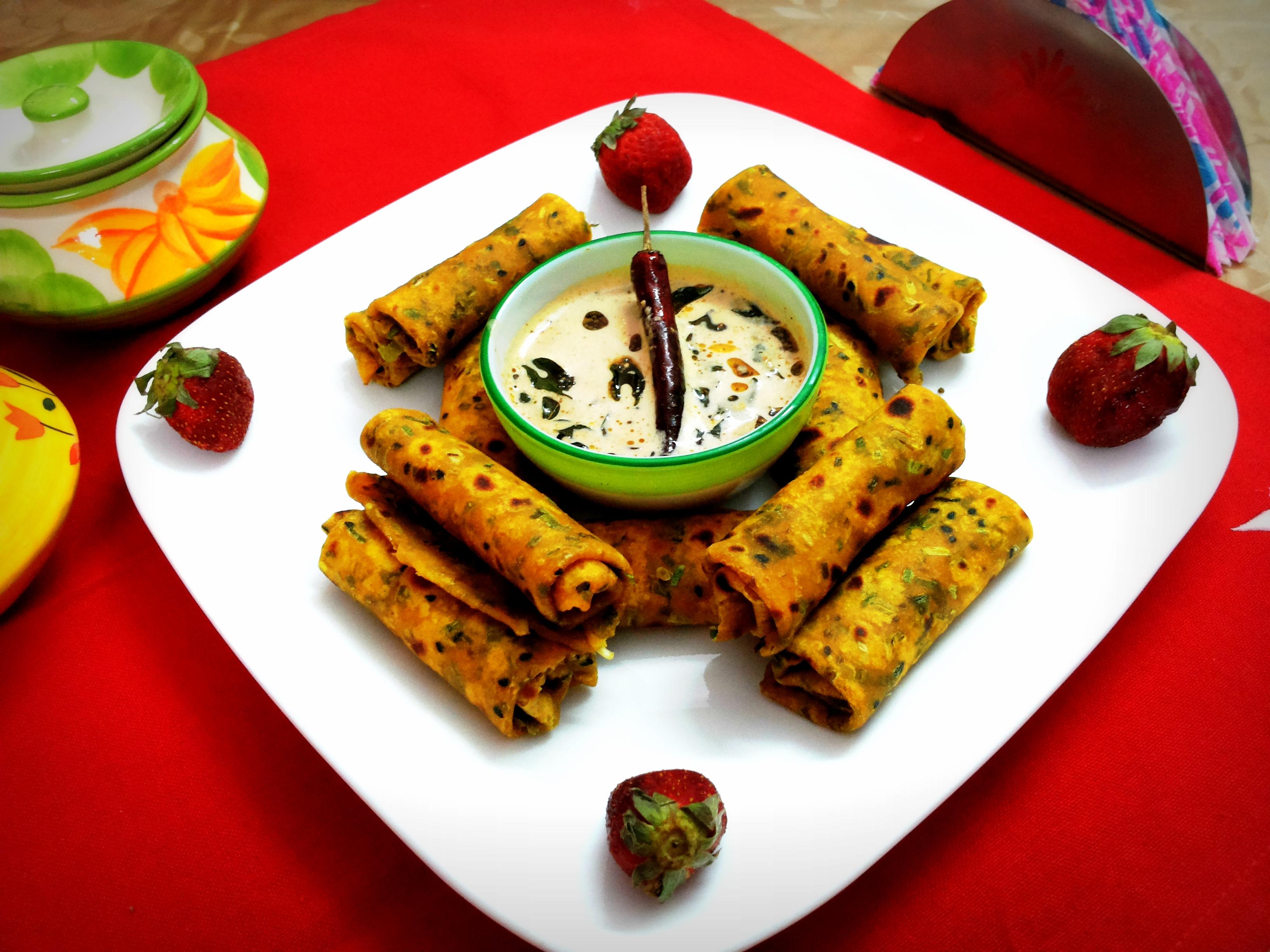 Spring onion thepla (Gujarati dish)
