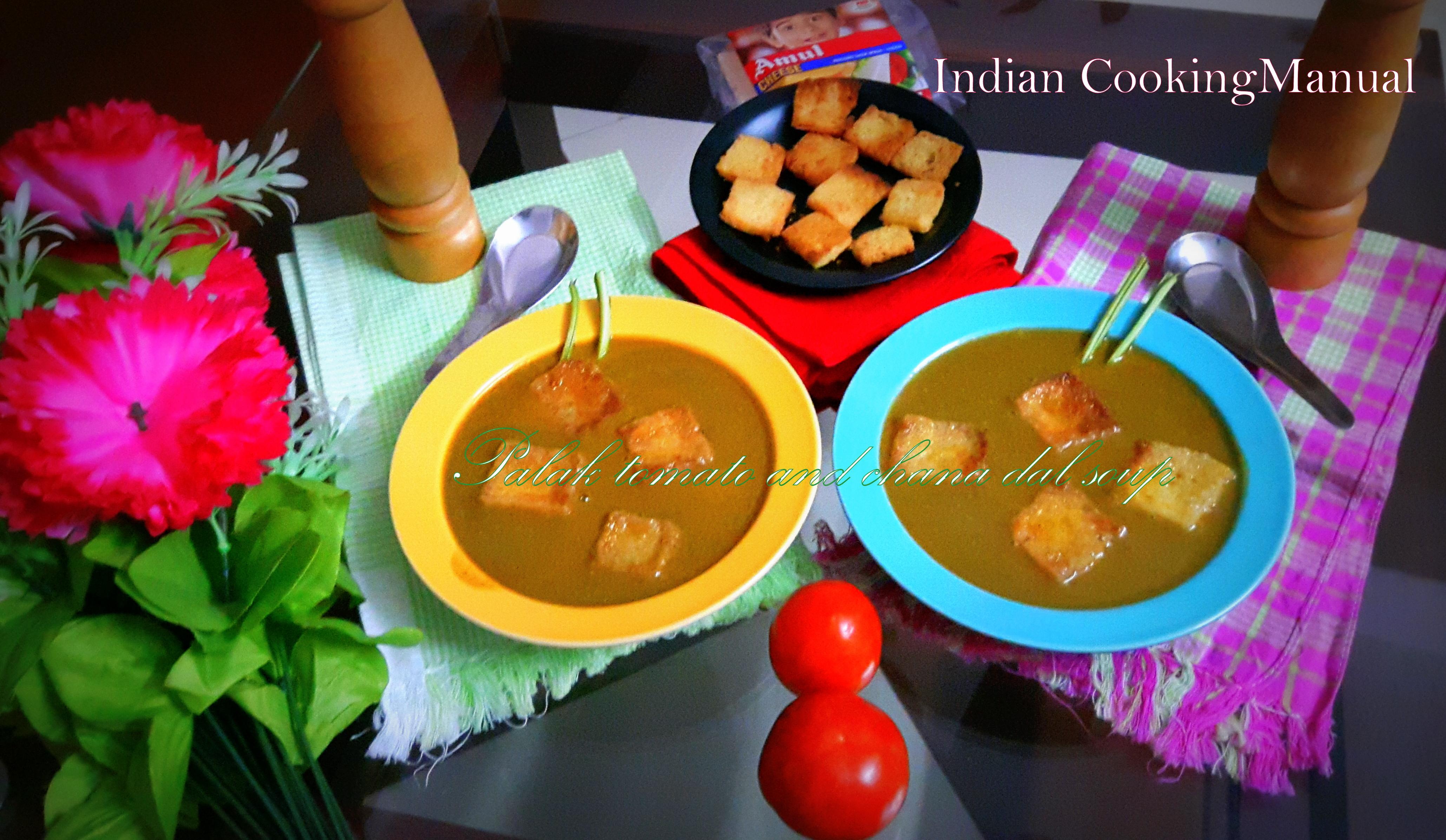 Palak tomato and chana dal soup
