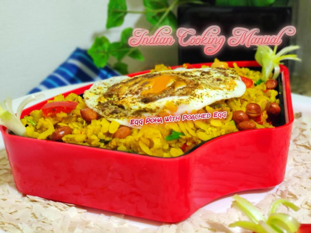 Poached Egg Poha (Beaten Rice)