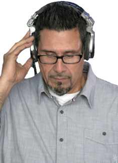 DJ Sammy on Headphones Color with White Background