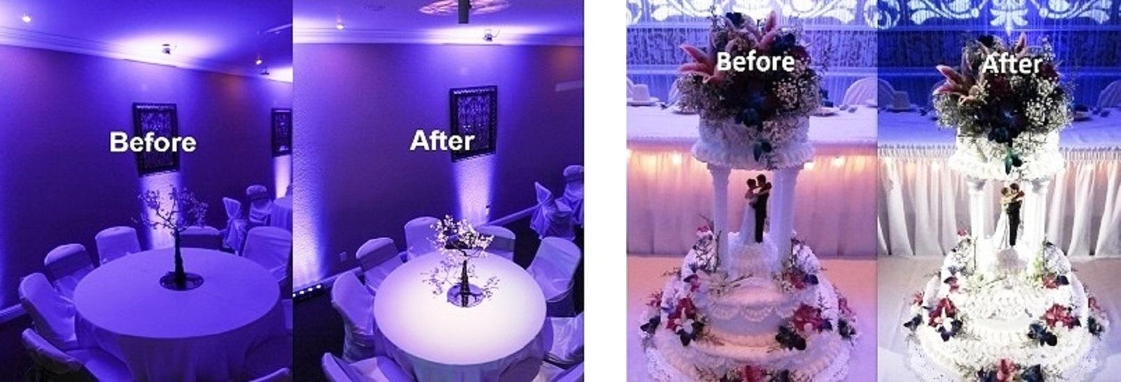 Houston Wedding DJ, DJs in Houston, Houston up lighting decor, Pin Lights, Cake Lighting, Table Lighting at a Houston Wedding or event, Houston DJ, Awesome Lighting Decor, Awesome Music Entertainment, Awesome Event Pros, AME DJs, Sonido DJ Sammy De Houston