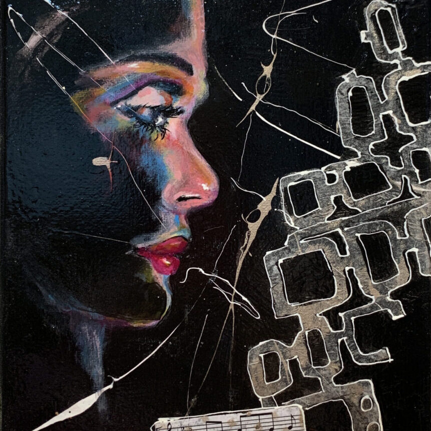 $125 - Wonder Where You Are, 10 x 8 Acrylic Collage, Framed
