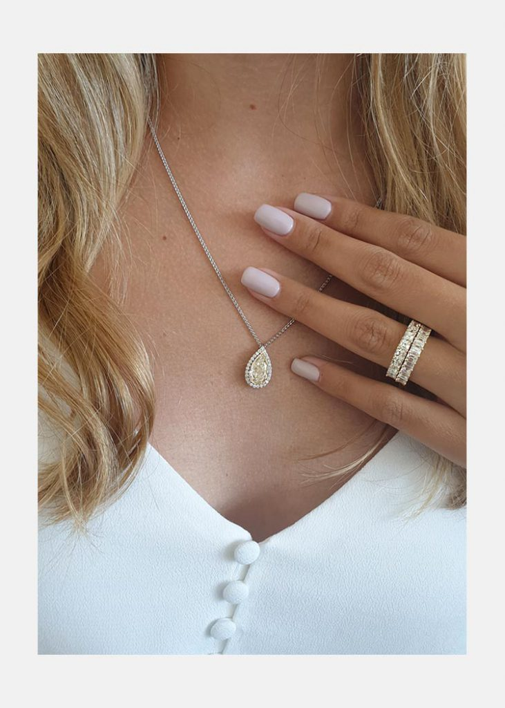 Halo Pear Necklace