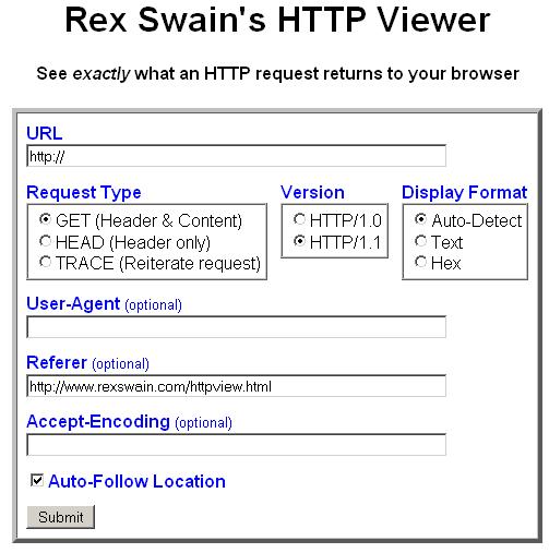 Rex Swain's HTTP Viewer
