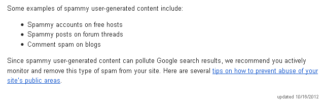 """Google's Webmaster Guidelines on """"User-Generated"""" Spam"""