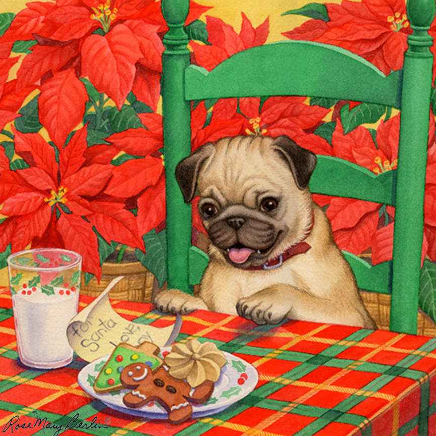 Christmas – Christmas Cookie – Pug by Rose Mary Berlin