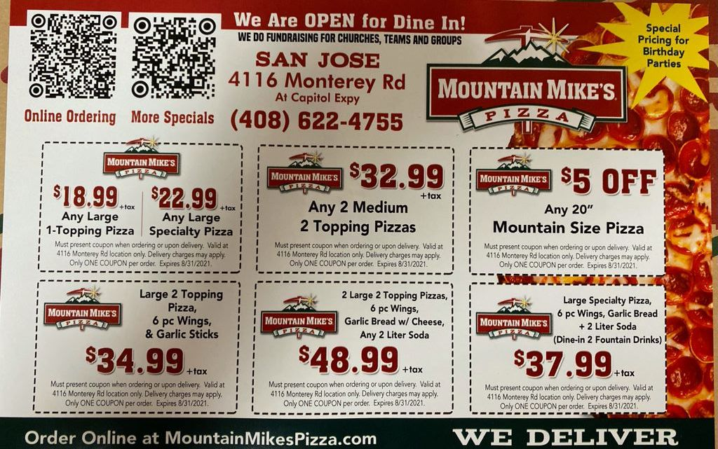 Pizza Coupons San Jose, For July and August 2021