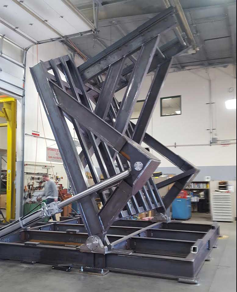 A 14-ton machine to be used toposition multi-ton parts for a company in the renewable energy industry.