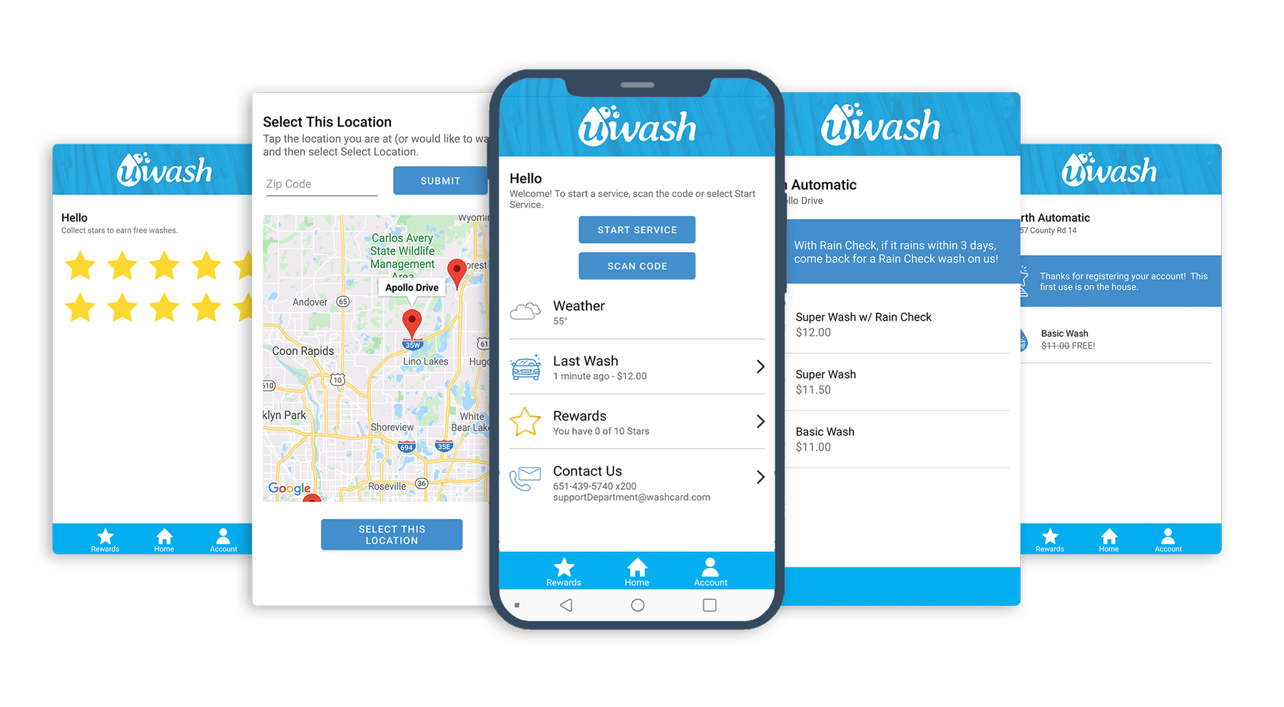 Car Wash App UWashApp Screenshots