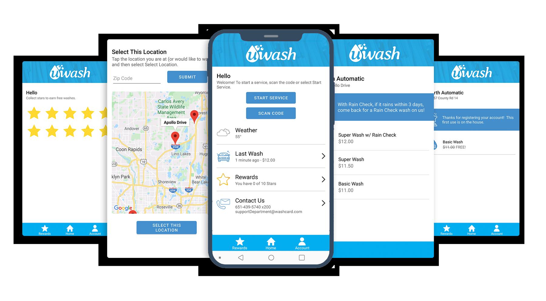 Car Wash App UWashApp Screenshots