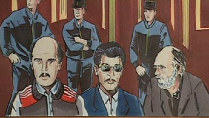 Courtroom scene depicted by artist. Ali Vakili Rad is far left.