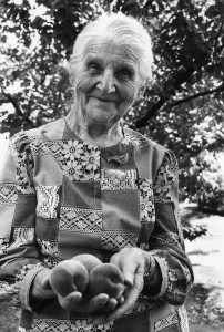 Susanna Rempel in her California backyard, age 91