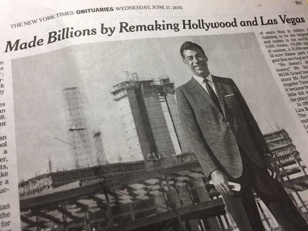 New York Times — Kirk Kerkorian, Obituary, June 17, 2015