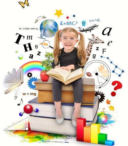 little girl learning stuffs
