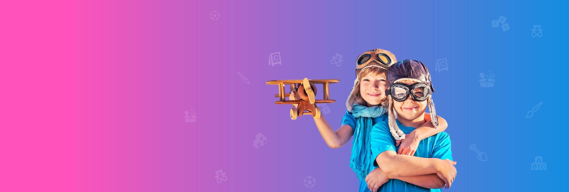 two kids playing pilot